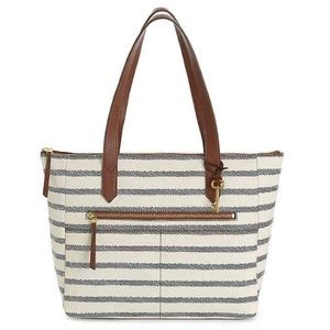 Fossil Faux Vegan Leather Striped Print Tote Bag